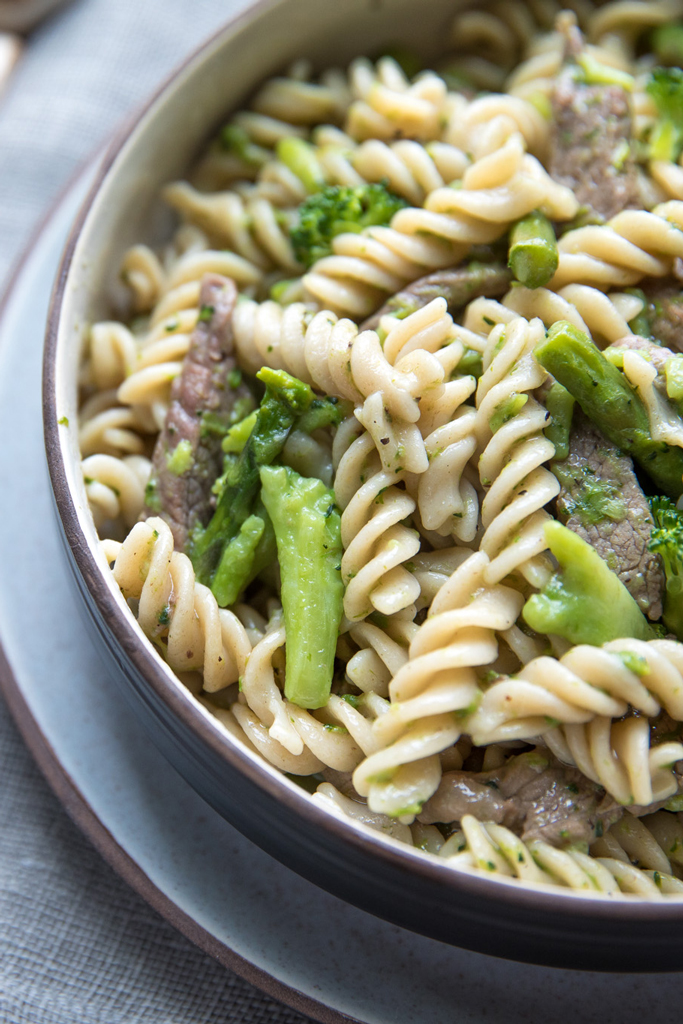 Gluten Free Fusilli with Steak, Asparagus & Broccoli